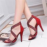 Women's Shoes Comfort Sandals Walking Shoes | Damen Sandalen | Sandalette Schuhe mit hohen Absätzen, Kalte Tau - Wasser bohren | fein mit Sandalen | elegant und vielseitig high-heeled Römische Sandalen, rot, 38