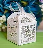 Musuntas 50Tlg.Schmetterling Vogelkäfig-Entwurf Hochzeit Taufe Gastgeschenk Geschenkbox Kartonage Schachtel Tischdeko Bonboniere Box Hochzeit Dekoration( ivory weiß)