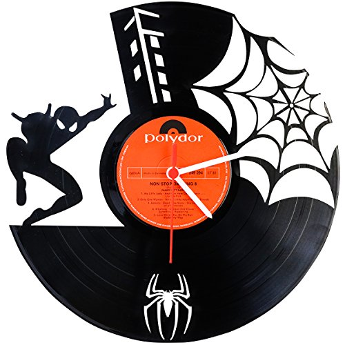 Spiderman Wanduhr aus Vinyl Schallplattenuhr Upcycling Design Uhr Wand-Deko Vintage-Uhr Wand-Dekoration Retro-Uhr Made in (Venom Spiderman Maske)