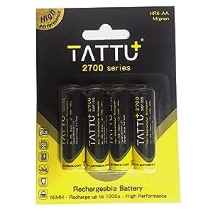 tattu High Capacity Rechargeable NiMH AA de 2700mAh 1.2V 4unidades-Batería Pilas Recargables sin efecto memoria-inmediatamente listo para usar de alta capacidad de batería con potencia extra Cerca