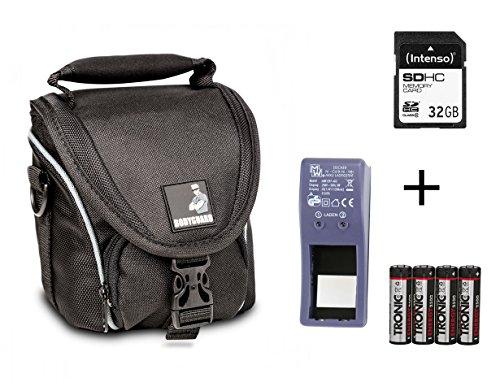 SPARSET - Passend für Nikon Coolpix L330 L340 L840 B500 : Tasche + 32GB SD Speicherkarte + Ladegerät für AA Akkus + 4X NiMH Akkus