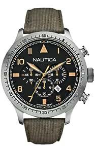Nautica Herren-Armbanduhr XL Chronograph Quarz Leder A17633G