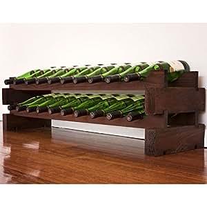 modularack bois casier vin 20 bouteilles tache sombre cuisine maison. Black Bedroom Furniture Sets. Home Design Ideas