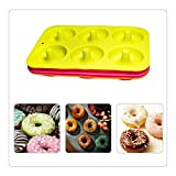 3 Pack Donut Mould, Silicon Cake Mold 6 Cavity Non-Stick Safe Baking Pan Heat Resistance for Cake Mold, Biscuit Mold, Orange, Rosy, Green