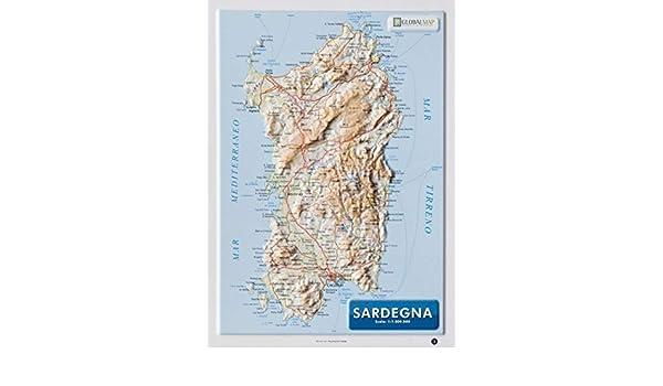 Cartina Sardegna Rilievo.Amazon It Sardegna 1 1 000 000 Carta In Rilievo Da Banco