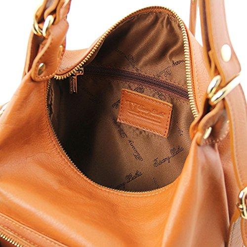 Tuscany Leather TL Bag - Sac en cuir convertible en sac à dos - TL141535 (Rouge) Cognac