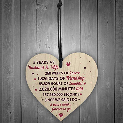 RED OCEAN 5th Wedding Anniversary Plaque Wooden Heart Five Year Wedding For Her Husband Wife Keepsake