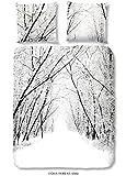 Good Morning! 5326-F 135cm Bettwäsche Wald im Schnee, 100% Flanell, 135x200 cm, flanell, Weiß, 200 x 135 x 0, 5 cm