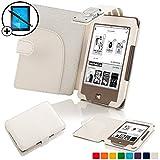 Forefront Cases® Tolino Page Shell Hülle Schutzhülle Tasche Bumper Folio Smart Case Cover Stand mit LED Licht - Leicht mit Rundum-Geräteschutz inkl. Eingabestift und Displayschutz (Weiß)