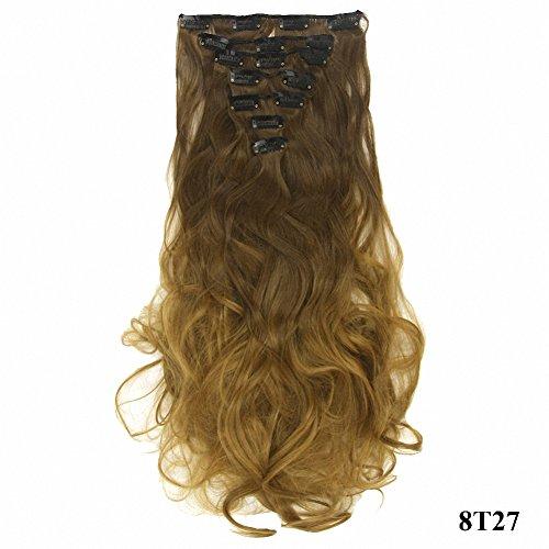 PrettyWit Clip in auf Haarverlängerungen Ombre Vollen Kopf Lockige Wellenförmige Doppelschuss 18-20 Zoll Lange Haarteil 7 teile/satz für Frauen (Medium Esche Braun zu Erdbeere Blond 8T27)