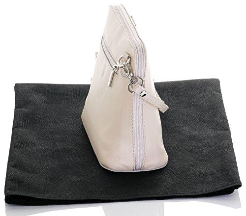 Italiano in morbida pelle, piccole/Micro croce corpo borsa o borsetta borsa a tracolla.Include una custodia protettiva. Crema