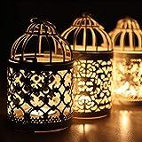 bloatboy  Hängende Vogelkäfig Kerzenhalter Retro Eisen Kerzenhalter Laterne Home Party Halloween Kerzenlicht Decor (B)