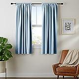 "AmazonBasics Room Darkening Blackout Curtain Set of 2 with Tie Backs - (5.25 Feet - Window) 52"" x 63"", Smoke Blue"