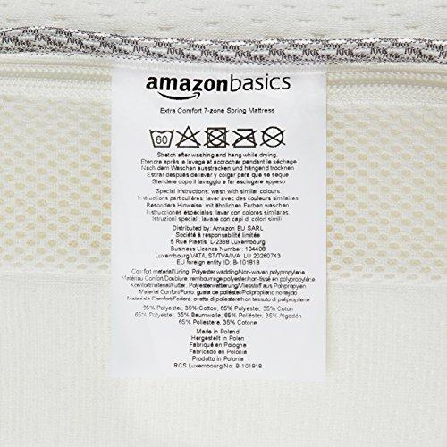 AmazonBasics Extra-Komfort-Federkernmatratze, mit 7 Zonen, 90 x 200 cm -