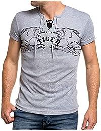 BLZ jeans - T-shirt gris col lacet imprimé