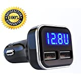 Alria 4.8A 24W Dual USB Car Charger Volt Meter Car Battery Monitor With LED Voltage & Amps Display, For IPhone 7 / 6s / Plus, IPad Pro / Air 2 / Mini, Samsung Galaxy S8/ Edge / Plus/ Note /Tablets And Other Smartphones