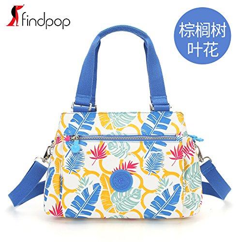 Zazero 2018 Neue Handtasche mode Canvas Tasche Crossbody-tasche Nylongewebe Tide, Palm Leaf Blume (Palm Gewebte Leaf)