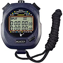 CaLeQi, cronometro/cronografo, contagiri digitale, professionale, portatile, con LCD, da sport, 3 righe di visualizzazione, con 30memorie