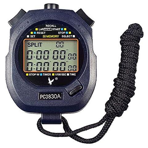 Leap Digital Professional Handheld LCD Chronograph Sports Stopwatch,Three-Row 30 Memories