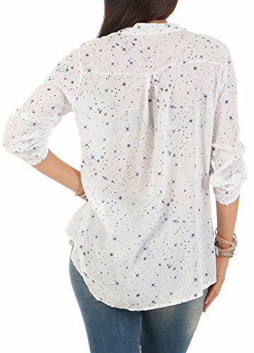 Zarmexx Feine Viskosebluse Hemdbluse Langarm - Fischerhemd Regular Fit Leichte Bluse Tunika Sternchen-Muster One Size Weiß