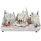 WeRChristmas 37 cm Pre-Lit poliresina Belén navideño con Codilleras ajustables para niños de Navidad con iluminación ledes de luz blanca cálida