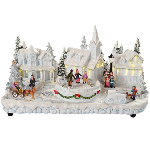 WeRChristmas Pre-Lit Polyresin Village Scene with Skating Children with Warm LED Lights, 37 cm - White