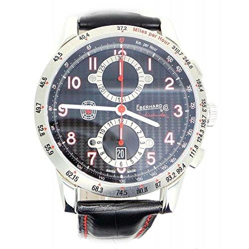 Clock Eberhard Men 31066CP Breaker Steel quandrante Blue Leather Strap