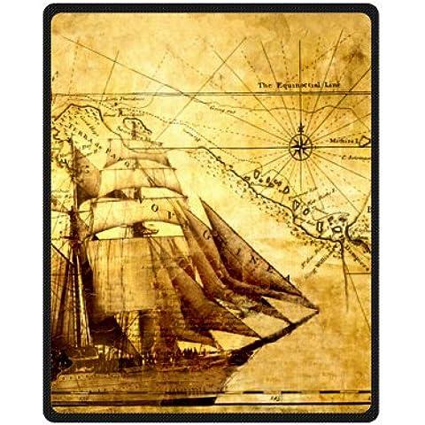 Vintage náuticas vela barco pirata Diseño manta de forro polar 40x 50cm (pequeño)