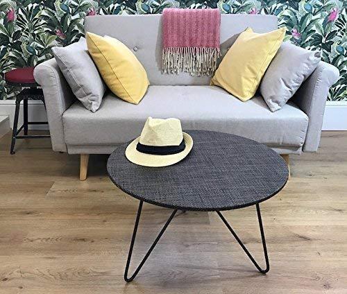 circulaire bas table - cuivre et Brown rotin tissé - 60cm taille