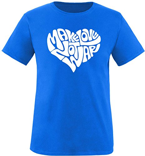 EZYshirt® Make love not war Herren Rundhals T-Shirt Royal/Weiss