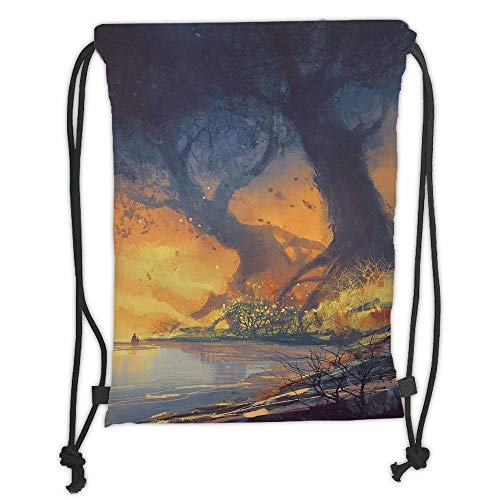 GONIESA Drawstring Sack Backpacks Bags,Fantasy,Artistic Landscape Painting of Big Trees with Huge Roots at Sunset Beach Seaside,Orange Blue Soft Satin,5 Liter Capacity,Adjustable String Closure -