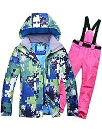 Traje de esquí Modelos de Pareja Hombres Ms al Aire Libre a Prueba de Viento Pantalones de esquí de Gran tamaño Impermeables, 3XL, Polvo Rosa