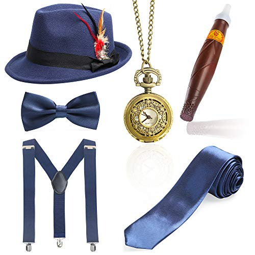 (Beelittle 1920er Jahre Mens Gatsby Zubehör Set Trilby Manhattan Fedora Hut, Y-Rücken Hosenträger, Gangster Krawatten, Puff Zigarre, Vintage Taschenuhr (N))
