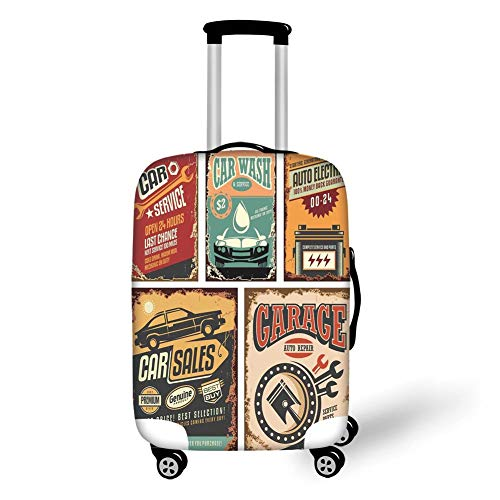 Travel Luggage Cover Suitcase Protector,Vintage Decor,Nostalgic Art Auto Service Garage Funk Style Highway Logo Repair Road Grunge Decor,Multi,for Travel XL