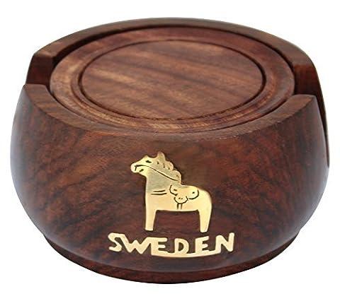 Indische Holzachterbahn Runde Drink Coasters handgefertigt - Set 6 Stück - für Esstisch Küchenzubehör