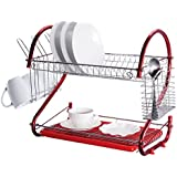Red 2 Tier Dish Drainer Rack Drip Tray Cutlery and Cup Rack