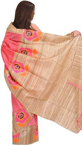Exotic India Sunkist-Coral and Beige Saree from Banaras with Hand-woven R -...