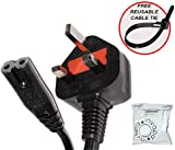 invapa® - 10 Metre - UK Mains Power Lead Cable for Samsung Toshiba LG Sharp Sony TV | 3 Pin Wall Cord to Figure 8 C7 | FREE reusable cable tie.