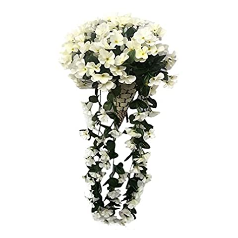Artificial Flowers, Keepwin 1 Bunches of Artificial Silk Violet Hanging Garland Vine Flower for Wedding Home Party Garden Decor