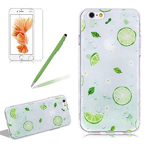 Girlyard Silikon Hülle für iPhone 6S Plus, Ultra Dünn Flexibel Weich TPU Schutzhülle mit Grün Zitrone Muster für iPhone 6 Plus Gummi Gel Crystal Clear Handyhülle Tasche Etui Schale Anti-Scratch Bumper für Apple iPhone 6 Plus/ iPhone 6S Plus 5.5 Zoll