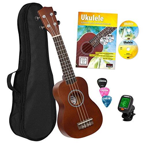 CASCHA HH 3956 DE Sopran Ukulele Bundle mit Schule, Stimmgerät, Tasche, 3 Picks und Aquila Qualitäts-Saiten Test