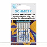 Schmetz Agujas para máquina de coser de bordado de oro de titanio sistema 130/705paquete de 5