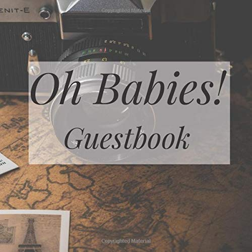 Oh Babies! Guestbook: Vintage Retro Map Travel Atlas - Twins Shower Signing Sign In Book, Welcome New Baby Girl with Gift Log Recorder, Address Lines, Prediction, Advice Wishes, Photo Milestones