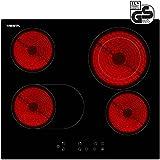 Viesta C4Z - Placa vitrocéramica de inducción, 2 zonas de cocción, 6600 W potencia total, color negro