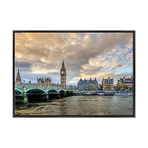 Bild auf Leinwand Canvas-Gerahmt-fertig zum Aufhängen-London UK-westeminster-Bigben-England Dimensione: 70x100cm B - Colore Nero Moderno