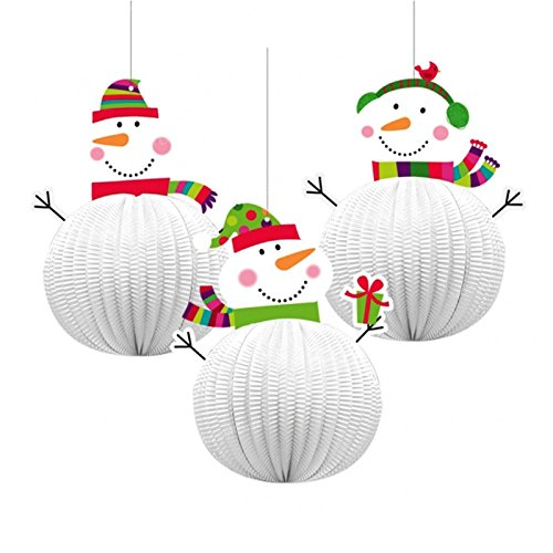 3 x Honeycomb Jolly Snowman Hanging Decorations.