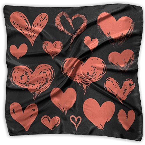 Aeykis Red Heart Collection Valentine's Day Women's Elegant Square Handkerchief Polyester Neck Head Scarf - Womans Day Collection
