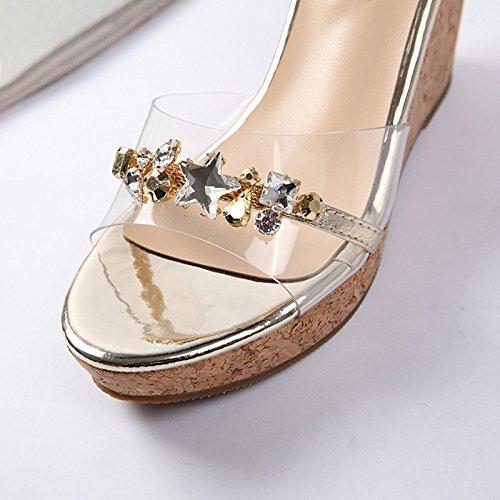 Estate donna scarpe di cuoio estate sandali tacchi alti,36 albicocca con 6 cm di altezza Gold