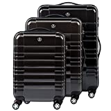 FERGÉ® Dreier Kofferset NIZZA Trolley-Koffer neu Reisekoffer leicht | Set 3-teilig Hartschalenkoffer mit 4 Zwillingsrollen (360°) | Koffer Hartschale anthrazit glänzend | PREMIUM-QUALITÄT