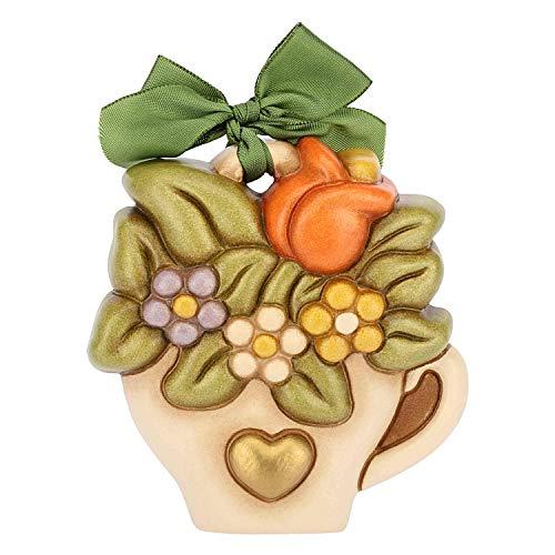 THUN - Formella Piccola da Appendere - Bouquet Fiori in Vaso a Forma di Tazzina - Fiocco Verde - Ceramica - I Classici